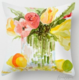watercolor bouquet pillow